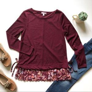 LC Lauren Conrad maroon floral top XL // E07